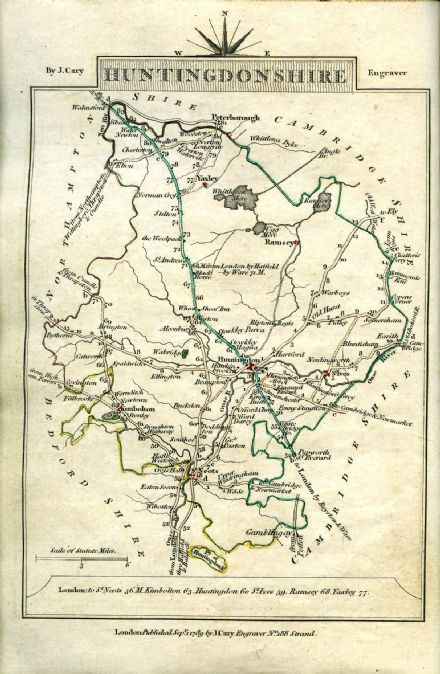 Huntingdonshire County Map by John Cary 1790 - Reproduction